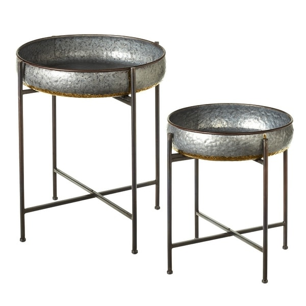 """Set of 2 Golden Colored and Metallic Gray Galvanized Finish Side Tables 25"""" - N/A"""