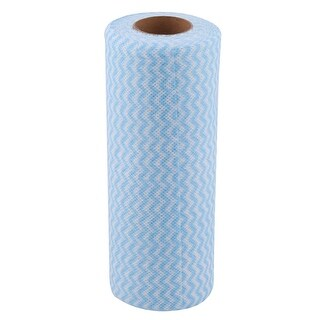 Kitchen Non-woven Fabric Wave Print Disposable Cleaning Cloth Roll Towel Blue