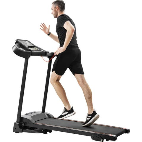 Folding Treadmill Motorized Compact Easy Running Jogging Machine with Audio Speakers and Incline Adjuster