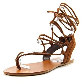 Steve Madden Walkitt Women Open Toe Suede Brown Gladiator Sandal