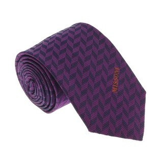 Missoni U5033 Purple/Black Herringbone patterned 100% Silk Tie - 60-3