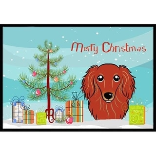 Carolines Treasures BB1586JMAT Christmas Tree & Longhair Red Dachshund Indoor or Outdoor Mat 24 x 36