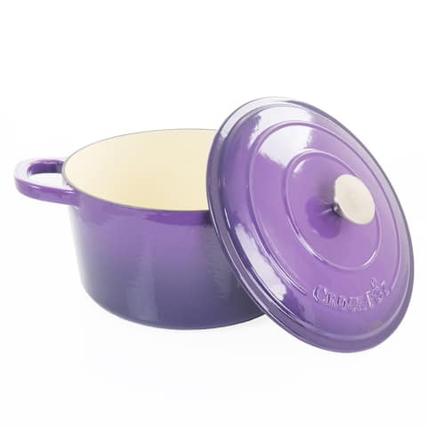 Crock-Pot Artisan 2 Piece 5 Quart Enameled Cast Iron Dutch Oven with Lid in Lavender