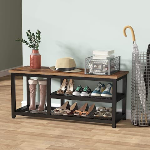 3 Tier Shoe Bench, Entryway Hallway Shoe Rack Organizer with Storage - Brown