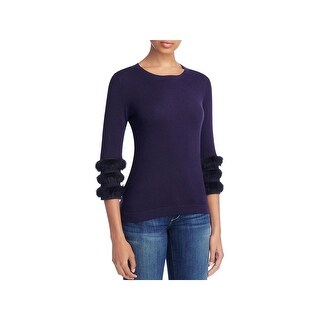 August Silk Womens Pullover Sweater Faux Fur Three-Quarter Sleeve
