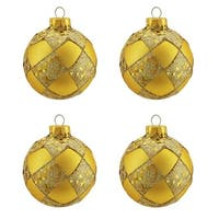 "4ct Matte Gold Glitter Diamond Design Glass Ball Christmas Ornaments 2.5"" (65mm)"