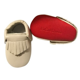 Baby Girls Cream Red Soft Sole Faux Leather Tassel Moccasin Crib Shoes 3-18M