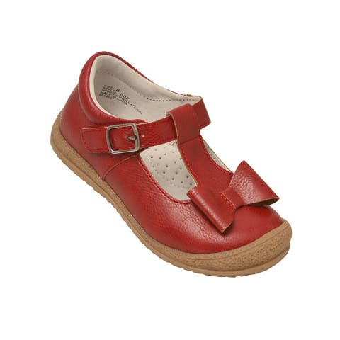 L`Amour Little Girls Red Bow T-Strap Sporty Mary Jane Shoes