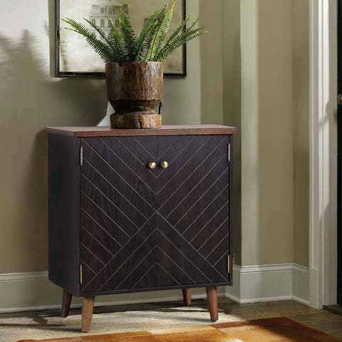 Solid Wood Hollow 2-Door Accent Cabinet Vintage Gold Brown Storage Shelf for Living/ Dining Room - L28'' x W18'' x H32''