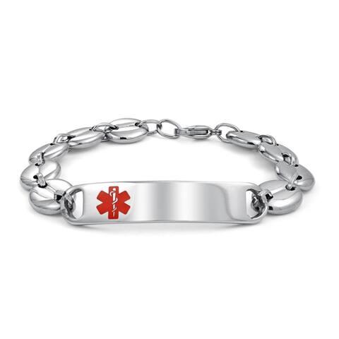 Personalize Medical Alert ID Bracelet Mariner Link Stainless Steel 7 8 9