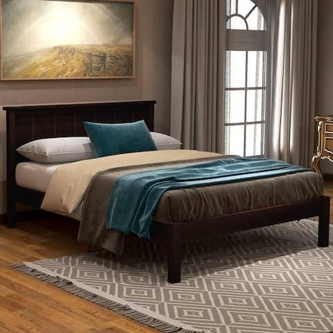 AOOLIVE Pine Wood Platform Bed with Headboard, Wood Slat, Twin