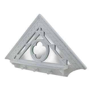 Distressed White Mirrored Architectural Triangle Wall Hook Shelf