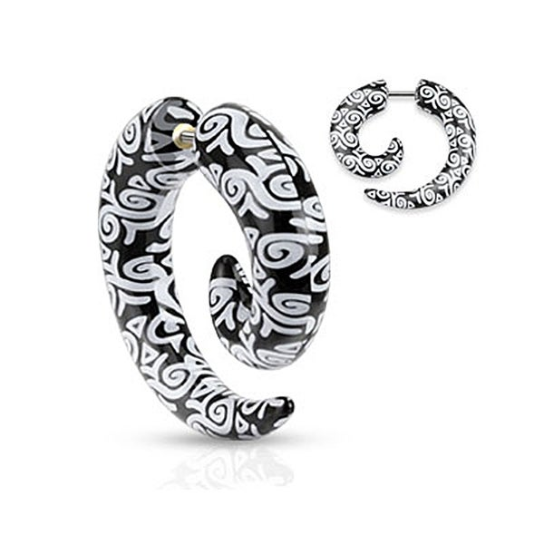 Tribal Swirls Printed All Acrylic Spiral Fake Taper (Sold Individually)