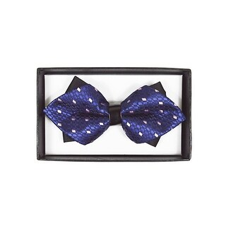 Men's Navy Blue Geometric Diamond Tip Bow Tie - DBB3030-14 - regular