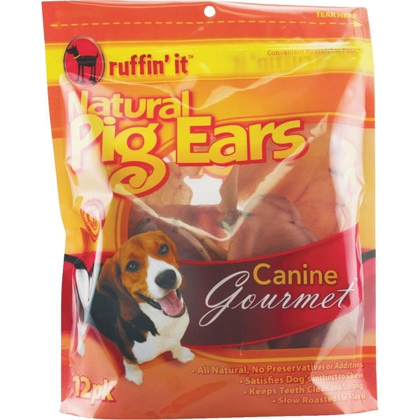 Ruffin' it 12Pk Natural Pig Ear