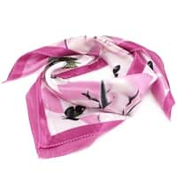 Unique Bargains Pink Butterfly Flower Pattern Polyester White Kerchief Neck Scarf for Ladies