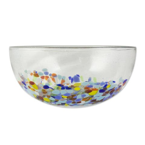 "Handmade Confetti Festival Blown Glass Serving Bowl (Mexico) - 4.1"" H x 9.75"" Diam."