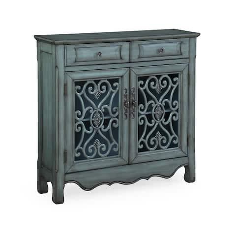 Somette Green Two Drawer Two Door Cupboard