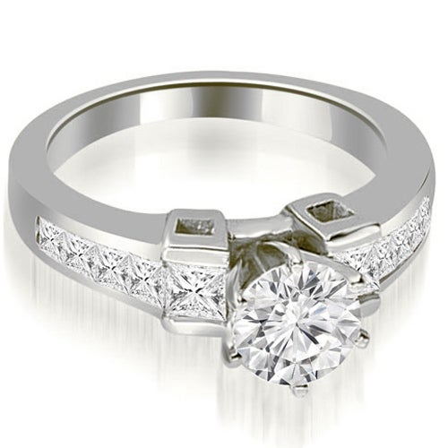 1.25 cttw. 14K White Gold Channel Diamond Princess and Round Engagement Ring