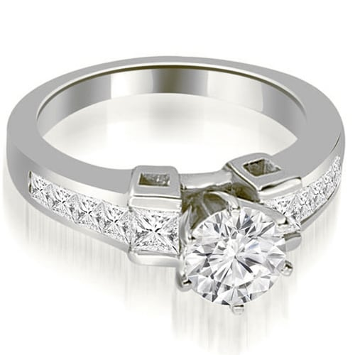 1.50 cttw. 14K White Gold Channel Diamond Princess and Round Engagement Ring