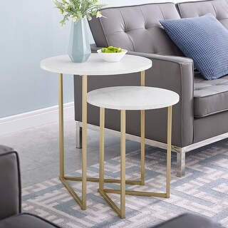 Silver Orchid  V-Leg Nesting Side Table Set