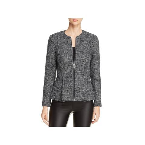 Donna Karan Womens Peplum Jacket Tweed Peplum