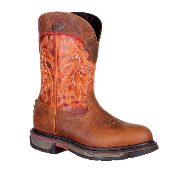Rocky Western Boots Mens Iron Skull Round Brown Burnt Orange