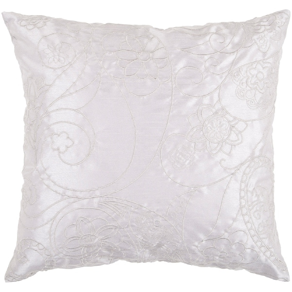"""18"""" Gray Floral Paisley Swirl Decorative Throw Pillow"""