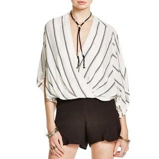Free People Womens Blouse Striped Dolman Sleeves
