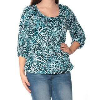 Womens Blue Animal Print 3/4 Sleeve Jewel Neck Top Size S