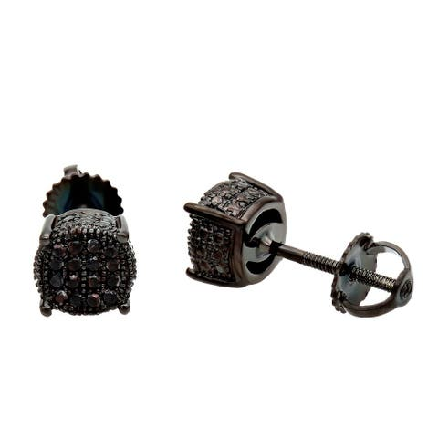 Ladies Round Diamond Stud Earrings 0.25ctw in Sterling Silver by Luxurman