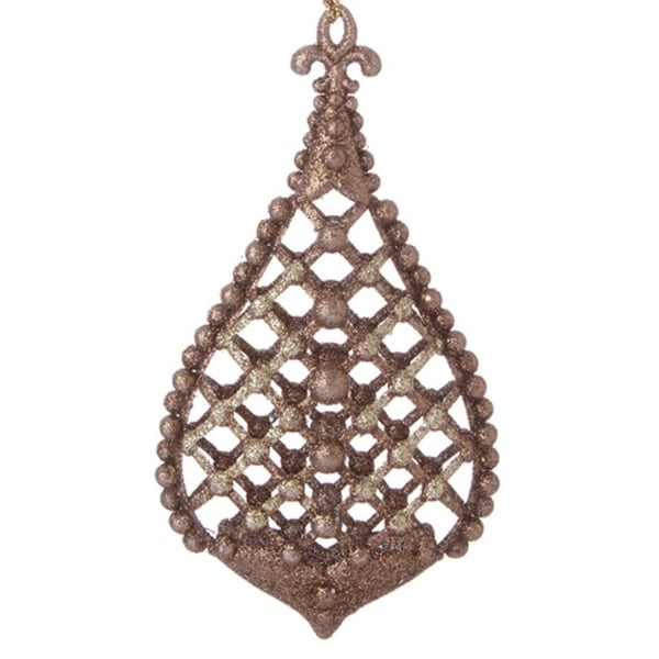 """5"""" Antique Copper Glittered Cross-Hatch with Raised Ball Accents Drop Christmas Ornaments"""