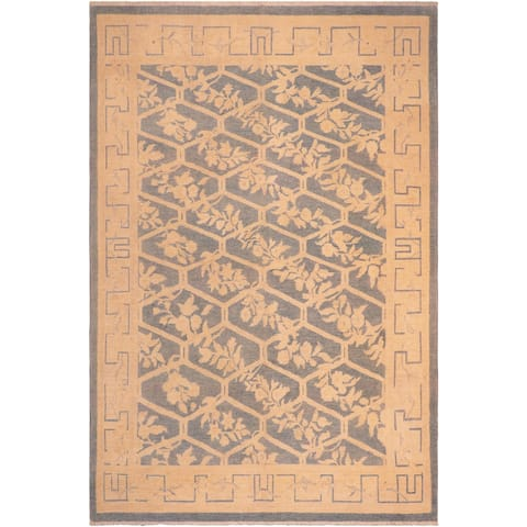 Bohemian Sun faded Whitley Blue/Beige Hand knotted Rug - 7'11 x 9'10 - 7 ft. 11 in. X 9 ft. 10 in.