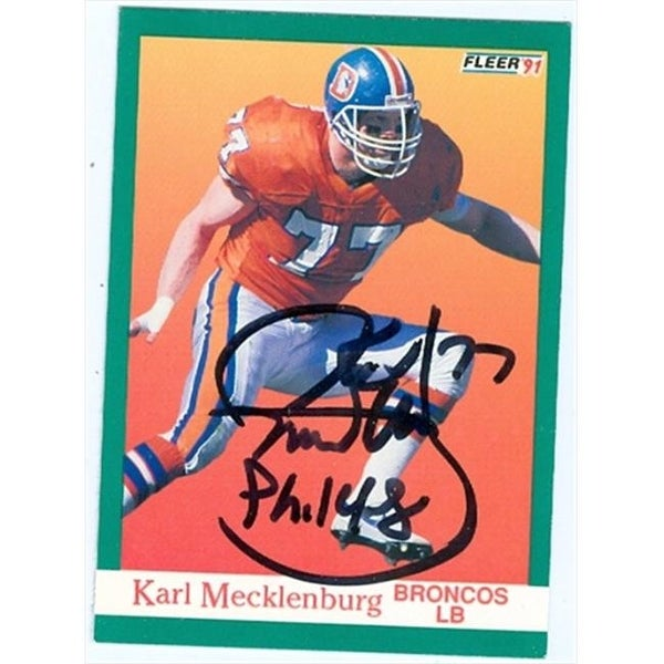 Shop Karl Mecklenburg Autographed Football Card Denver Broncos 1991 - Free  Shipping On Orders Over  45 - Overstock - 23750110 5554570ce