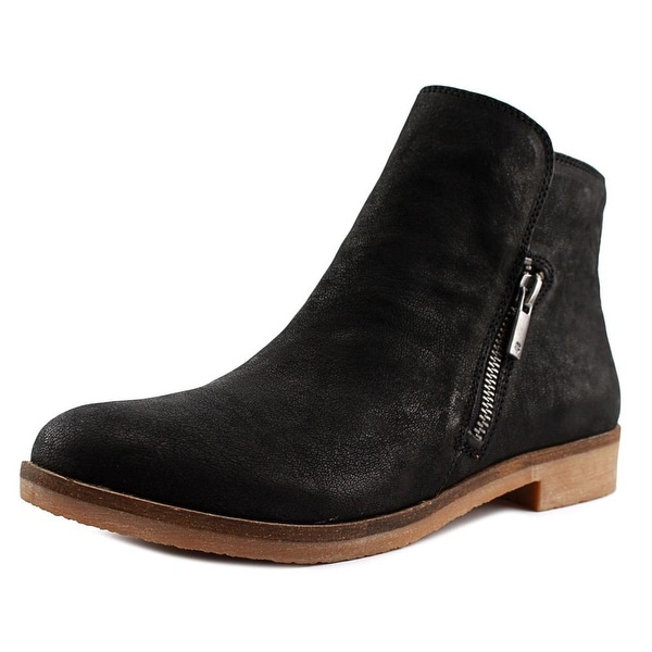 Lucky Brand Gulvan Women Round Toe Leather Black Ankle Boot