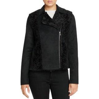 T Tahari Womens Dallas Jacket Faux Suede Faux Fur Trim