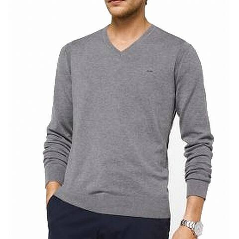 Michael Kors Mens Ash Gray Size Small S Pullover V-Neck Sweater