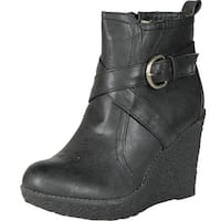 Enigma Womens Bc600 Wedge Boots With Buckle Detail - black.