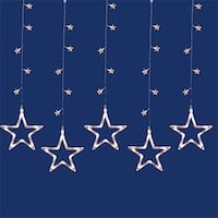 LED Clear Star Silhouette Window Curtain Christmas Lights - Clear