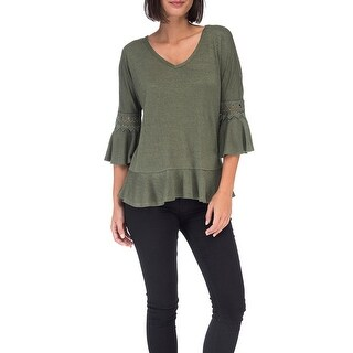 Bobeau Kenya Peplum Top With Lace Trim Sleeve (More options available)
