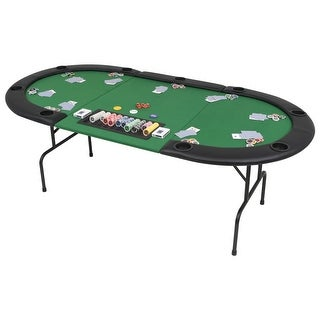 Link to vidaXL 9-Player Folding Poker Table 3 Fold Oval Green Similar Items in Casino Games