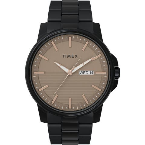 Timex Men's Dress 45mm Watch - Black Case Taupe Dial with Black Stainless Steel Bracelet