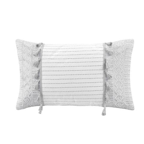 Selma Grey Embroidered Oblong Pillow with Tassels by INK+IVY