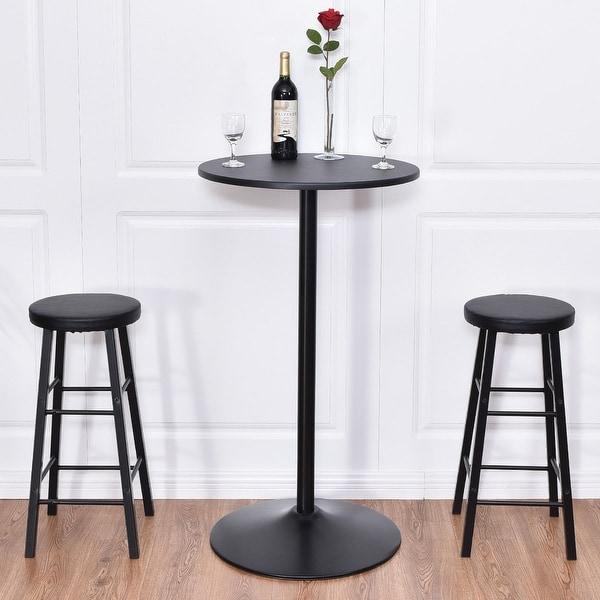 Black Round Kitchen Table Set: Shop Costway 3pc Round Pub Table 2 Stools Wood Black ,Bar