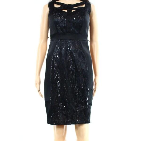 Shop Jax New Black Sequin Lace Criss Cross Womens 12