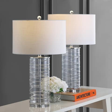 "Cole 27.5"" Modern Fused Glass Cylinder LED Table Lamp, Clear (Set of 2) by JONATHAN Y"
