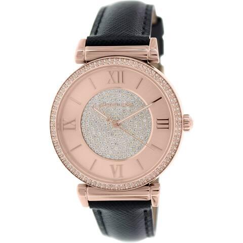 935c390f3945 Michael Kors Women s Runway Black Leather Quartz Fashion Watch