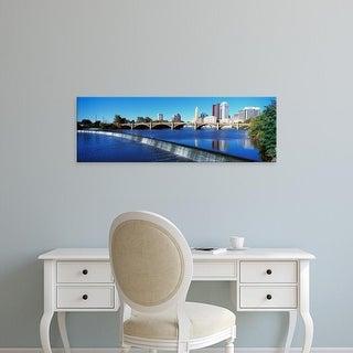 Easy Art Prints Panoramic Image 'Scioto River, waterfall and Columbus Ohio skyline, with setting sunlight' Canvas Art
