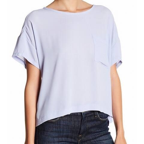 Lush NEW Cosmic Purple Womens Size Large L Pocket Hi-Low Sheer Blouse
