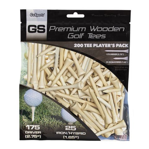 """GoSports 2.75"""" Premium Wooden Golf Tees - 200 Tee Player's Pack with Driver and Iron/Hybrid Tees"""